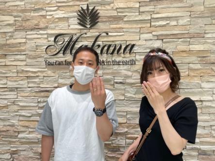 京都府宇治市・伏見区 ハワイアンジュエリーでマカナの婚約指輪・結婚指輪をご成約いただきました